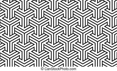 Black and White Optical Geometric Seamless for Printing on Fabric – Abstract Background with Pattern in Swatches Panel