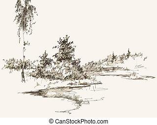 Black and white hand drawn landscape. Vector illustration
