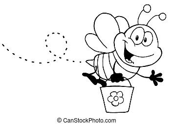 Black And White Honey Bee Flying