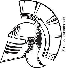 black and white hoplite helmet.
