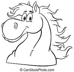 Black And White Horse Head Cartoon Mascot Character.