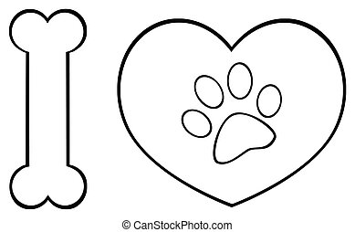Black And White I Love Animals With Bone And Heart With Paw Print Logo Design