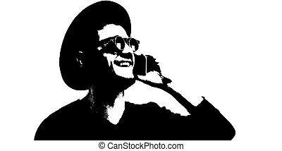 Black and white illustration of smiling man with smartphone in hand.