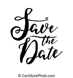 Black and white save the date lettering on white background. Hand drawn vector inscription.