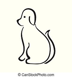 Black and white vector of sitting dog