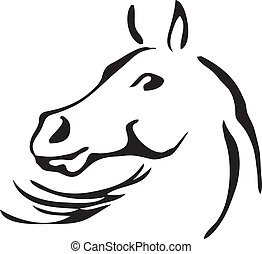 black and white vector outlines of horse