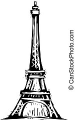 Black and White woodcut style illustration of the Eiffel Tower.