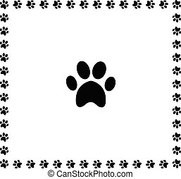 Black animal pawprint icon framed with paw prints border