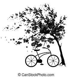black autumn, flowers tree , on a white