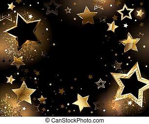 black background with shiny gold stars.