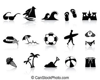 Set of 15 black beach icons