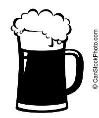 black beer mug on white background