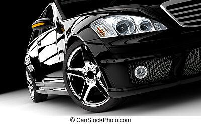 A black car isolated on a dark background