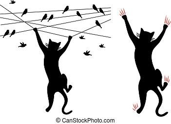 Black cat climbing, birds on wire, vector