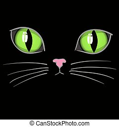 Black Cat Head with Green Eyes