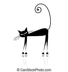 Black cat silhouette for your design