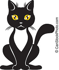 The graceful black cat with yellow eyes