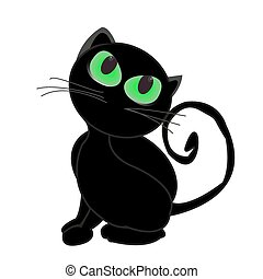 Black cat with glowing green eyes