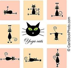 Set of cute black cats doing yoga.