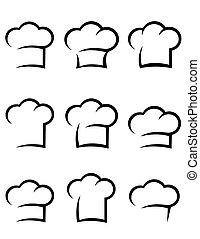 black chef hat set