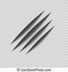 Black claws animal scratch scrape track. Cat or tiger scratches paw shape. Four nails trace. Vector illustration isolated on transparent background