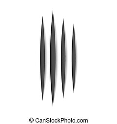 Black claws animal scratch scrape track. Cat or tiger scratches paw shape. Four nails trace. Vector illustration isolated on white