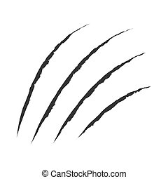 Black claws animal scratch scrape track. Cat tiger scratches paw shape. Four nails trace. Funny design element. Flat design. White background. Isolated. Vector illustration.
