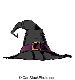 Black creepy witch hat with violet belt isolated on a white background. Color line art. Halloween retro design. Vector illustration.