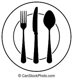 Plate fork spoon and knife isolated on white background