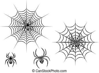 Black danger spiders on web