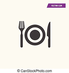 Black dish fork and knife icon vector.