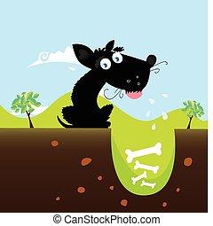 Black dog with bones. VECTOR