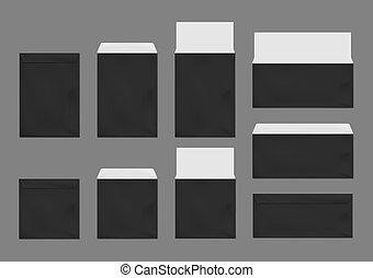 Black envelopes template set. Blank paper covers