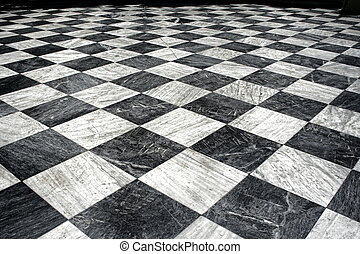 Black and white checquered marble floor pattern