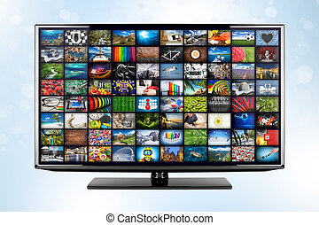 black flat tv screen monitor display with picture movie gallery backdrop. television front of blue white bokeh background. Computer multimedia streaming internet and cloud concept visualisation.