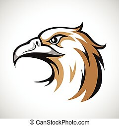Black, grey and brown eagle head logotype on white background