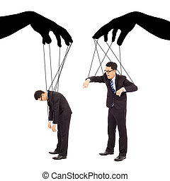 black hands shadow control two businessman actions