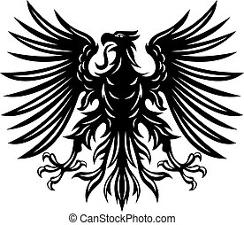 Black heraldic eagles for heraldry or tattoo design isolated on white background