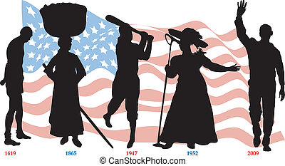 Vector Illustration of Black History Time line with flag.