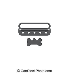 Black line Collar with name tag icon isolated on white background. Simple supplies for domestic animal. Cat and dog care. Pet chains. Vector