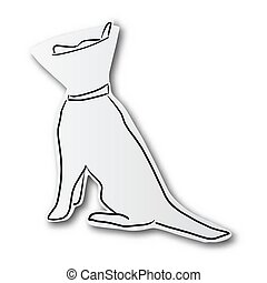 black line hand drawn of dog and protective collar on cut paper with shadow isolated on white background