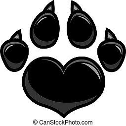 Black Love Paw Print Logo Design