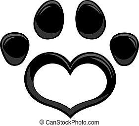 Black Love Paw Print Logo Flat Design