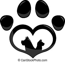 Black Love Paw Print Logo With Dog And Cat Silhouette Flat Design