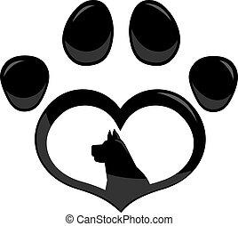 Black Love Paw Print Logo With Dog Silhouette Flat Design