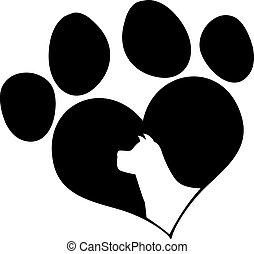 Black Love Paw Print With Dog Head