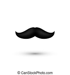 Black Mustache. Father Day Symbol - Moustache. Man whisker isolated on white. Vector