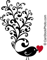 black ornamental bird with red heart, vector background