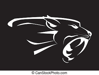 Black Panther, roaring fang face in the dark. white lines over the black background. EPS and Hi Res JPEG