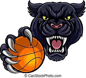Black Panther Holding Basket Ball Mascot